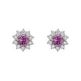 Pink Sapphire & Diamond Cluster Earrings