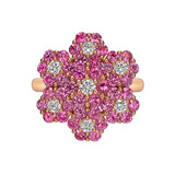 ​Pink ​​Sapphire & Diamond Foliate Cluster Ring