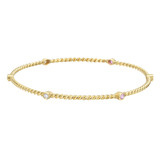 18k Gold, Diamond & Pink Sapphire Twistwire Bangle