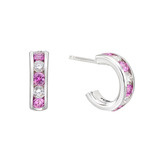 Pink Sapphire & Diamond Huggie Earrings
