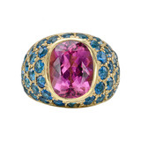 Pink Tourmaline &amp; Apatite Ring