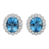 ​Platinum, Aquamarine & Diamond Earclips