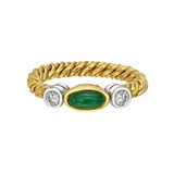 Emerald & Diamond Twist Band Ring