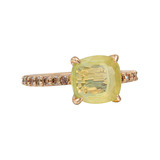 Lemon Citrine &amp; Pav Cognac Diamond Ring