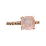 Rose Quartz &amp; Pav Cognac Diamond Ring