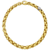 18k Yellow Gold Chain Necklace with Diamond Link