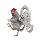 Medium Silver &amp; Enamel Prancing Rooster Sculpture