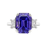 Emerald-Cut Purple Sapphire & Diamond Ring