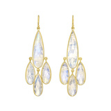 18k Gold & Rainbow Moonstone Chandelier Earrings