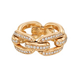 "18k Rose Gold & Diamond ""Chunky Chain"" Ring"
