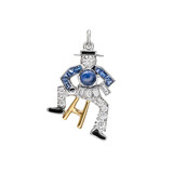 Accordion Player Sapphire &amp; Diamond Charm 