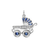 Boy&#039;s Baby Carriage Sapphire &amp; Diamond Charm