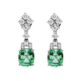 Mint Tourmaline & Diamond Drop Earrings