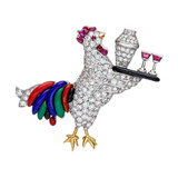 """Rooster with Shaker"" Gem-Set Brooch"