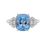 Oval-Cut Aquamarine & Diamond Ring