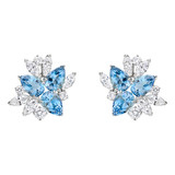 Aquamarine & Diamond Cluster Earclips
