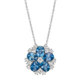 &quot;Snowflake Cluster&quot; Aquamarine &amp; Diamond Pendant
