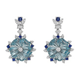 Aquamarine, Diamond & Sapphire Pendant Earrings