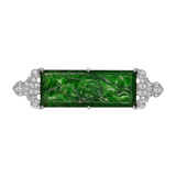Carved Jade & Diamond Plaque Brooch