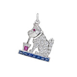 """Dog Sipping Drink"" Gem-Set Charm"