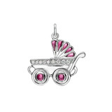 Girl's Baby Carriage Ruby & Diamond Charm