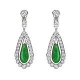 Jade & Diamond Drop Earrings