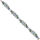 Aquamarine & Diamond Flower Bracelet