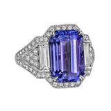 8.02 Carat Tanzanite & Diamond Ring