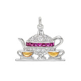 """Tea for Two"" Gem-Set Charm"