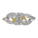 ​White & Yellow Diamond Double Clip Brooch
