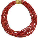 10-Strand Red Coral Bead Necklace