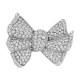 Retro Diamond Bow Brooch (~16 ct tw)