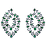 Emerald & Diamond Flexible Spray Hoop Earrings