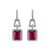 Rubellite & Diamond Drop Earrings