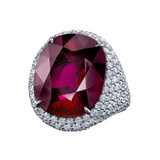 Oval-Shaped Rubellite & Diamond Cocktail Ring