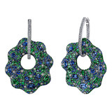 Sapphire, Tsavorite & Diamond Drop Earrings