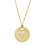 18k Gold Disc Pendant with Diamond Heart