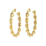 18k Yellow Gold Oval Twist Hoop Earrings