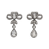 Rose-Cut Diamond Bow Drop Earrings