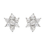 Rose-Cut Diamond Flower Cluster Earrings