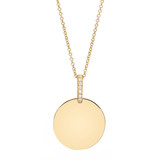Small 14k Gold Disc Pendant with Pav Diamond Bale