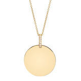 14k Gold Disc Pendant with Pav Diamond Bale