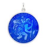 Large Silver St. Christopher Medal with Royal Blue Enamel