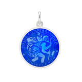 Small Silver St. Christopher Medal with Royal Blue Enamel