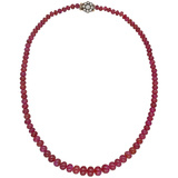 Ruby Bead Necklace with Diamond Cluster Clasp
