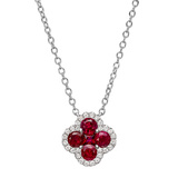 ​Small Ruby & Diamond Clover Pendant