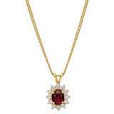 Oval Ruby & Diamond Cluster Pendant