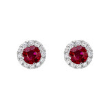 Ruby & Diamond Cluster Earstuds