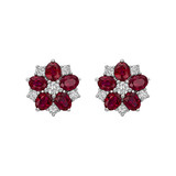 ​Ruby & Diamond Flower Cluster Earstuds