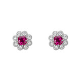 Ruby &amp; Diamond Flower Cluster Stud Earrings
